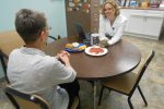 Karen Homan, Registered Dietician, educates a patient newly diagnosed with diabetes.